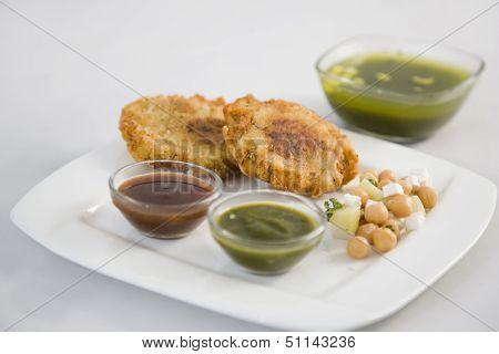 Aloo Tikki Or Fried Potato Balls Or Chaat