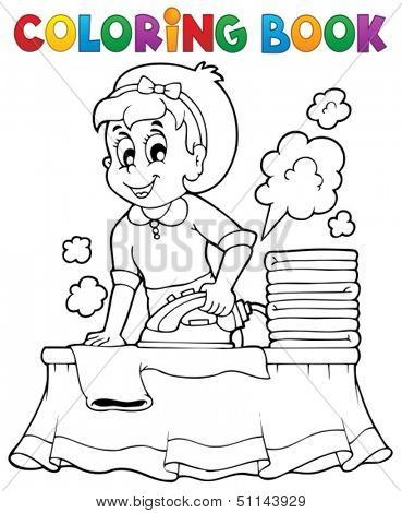 Coloring book with housewife 1 - eps10 vector illustration.