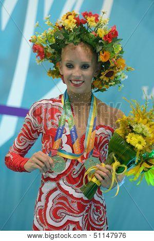 KIEV, UKRAINE - AUGUST 29: Yana Kudryavtseva of Russia win gold medal during the 32nd Rhythmic Gymnastics World Championships in Kiev, Ukraine on August 29, 2013