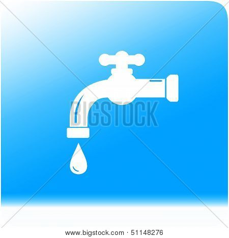 tap spigot on water background