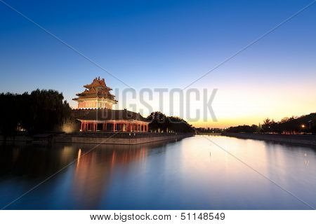 The Turret Of Forbidden City At Dusk