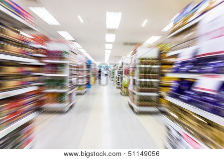 Empty supermarket aisle,motion blur