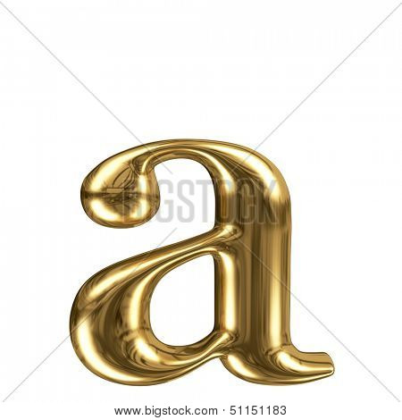 Golden font type letter a, lowercase