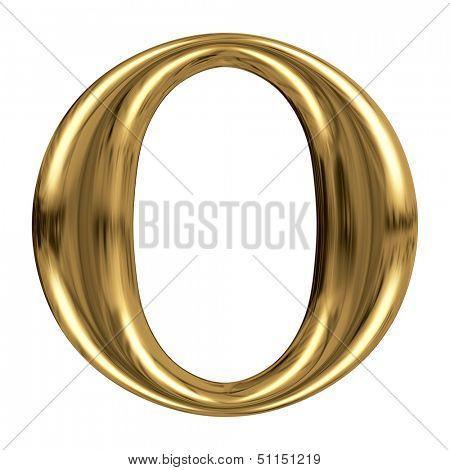 Golden font type letter O, uppercase