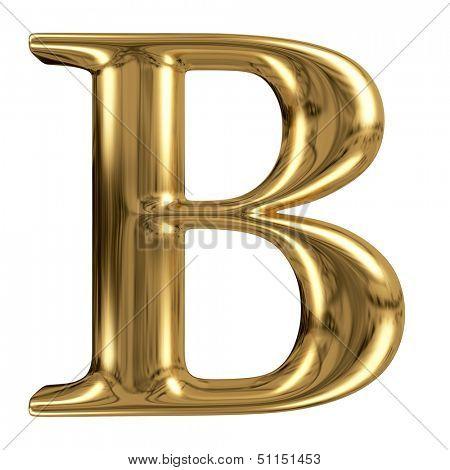 Golden font type letter B, uppercase