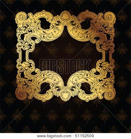 Gold Frame On Brown Ornate Background