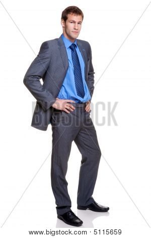 Businessman Full Length Grey Pinstripe Suit