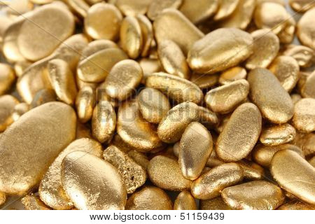 Golden stones close-up