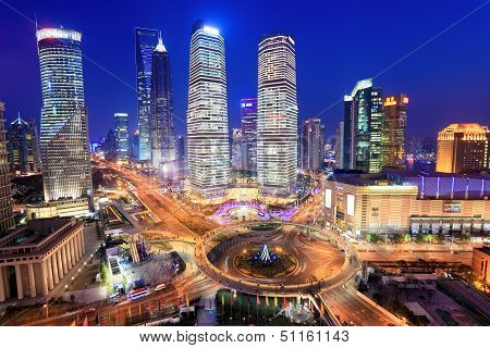 Shanghai Lujiazui Financial Center In The Evening