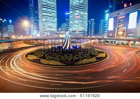 Shanghai Downtown At Night