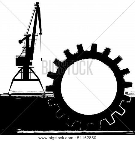 Background With Port Crane