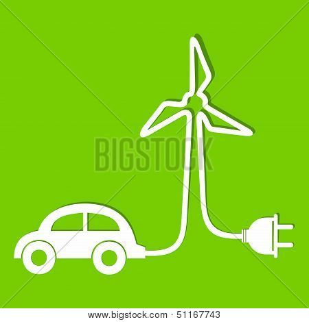 Eco car make a wind-mill icon