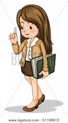 Illustration of a young office worker holding a binder on a white background