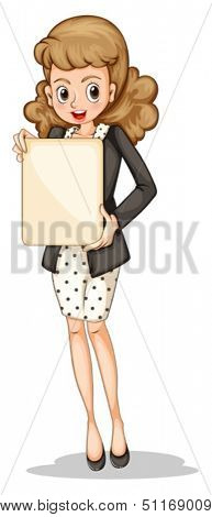 Illustration of a fashionable businesswoman holding an empty signboard on a white background