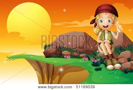 Illustration of a young girl near the cliff siting above the rock