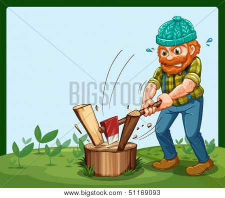 Illustration of a lumberjack chopping the wood