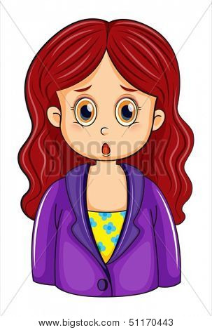 Illustration of a redhead businesswoman on a white background