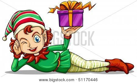 Illustration of a happy elf holding a gift on a white background