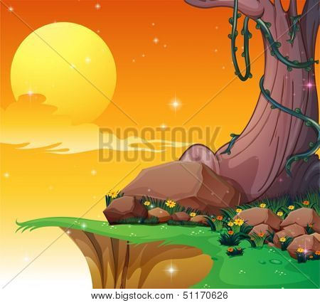 Illustration of a big tree near the cliff