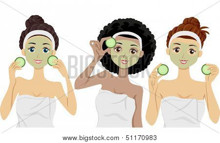 Illustration of Women Wearing Clay Masks on Their Faces Holding Slices of Cucumber