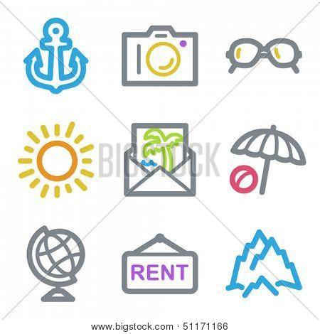 Travel web icons set 5, color line contour series