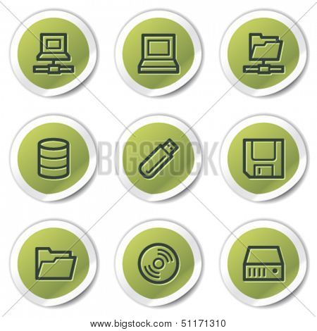 Drives and storage web icons, green circle stickers