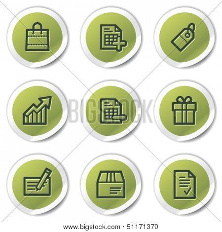 Shopping web icons set 1, green circle stickers