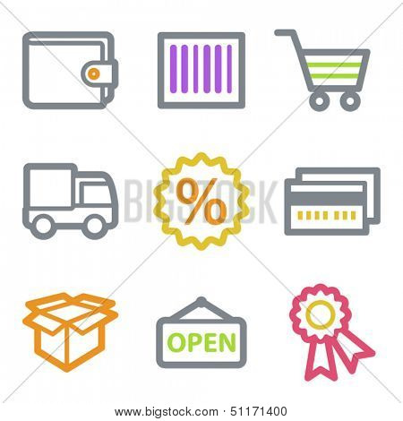 Shopping web icons set 2, color line contour series