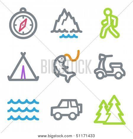 Travel web icons set 3, color line contour series