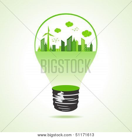 Eco cityscape in bulb