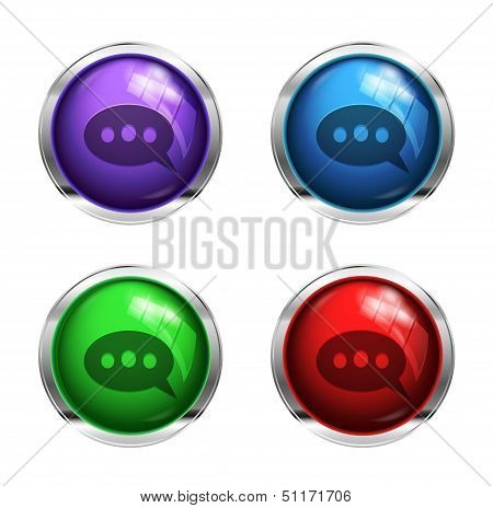 Shiny speech bubble buttons