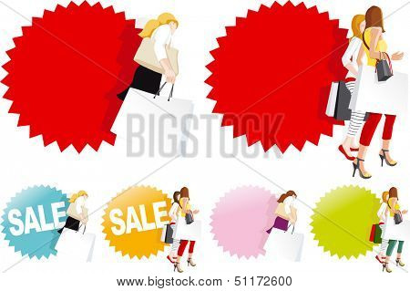 Fashionable shopping women in store, Sale sign. Copy space for text on shopping bags and badge. Easily changeable colors. Vector illustration