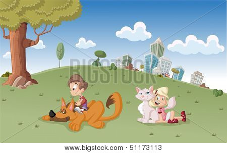Colorful cute happy cartoon boy and girl with dog and cat on city park