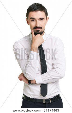 Portrait of pensive male in formalwear looking at camera
