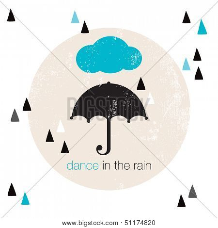 Dance in the rain geometric hipster style umbrella illustration postcard cover design