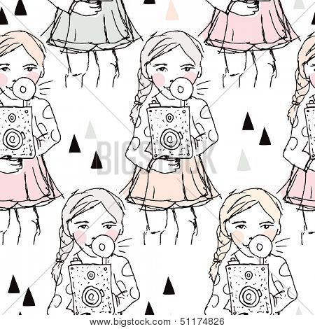 Seamless camera illustration hipster photography girl blogger background pattern in vector