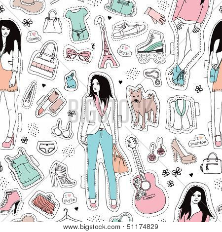 Seamless fashion girls and fashionista items trend illustration background pattern in vector