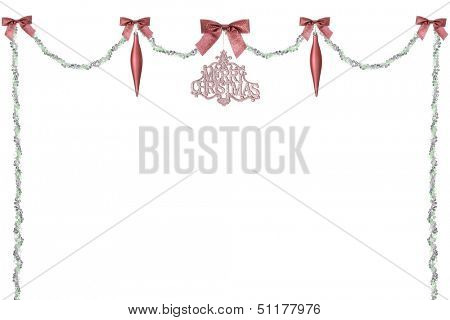 A green and silver bead swag topped with sparkly red bows, teardrops and a Merry Christmas ornament.  On a white background with plenty of space for your image or text.