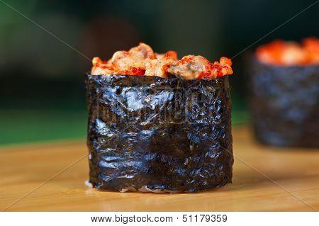 Japanese cuisine - sushi rolls closeup