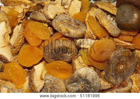 Dried organic fruit, background, selective focus
