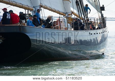 SAN FRANCISCO, CA - SEPTEMBER 13: Super yacht America competes in a regatta during the America's Cup in San Francisco, CA on September 13, 2013