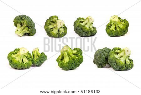 Set Of Broccolis Floret Isolated On White