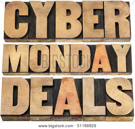 Cyber Monday deals - online shopping and marketing concept - isolated text in letterpress wood type blocks