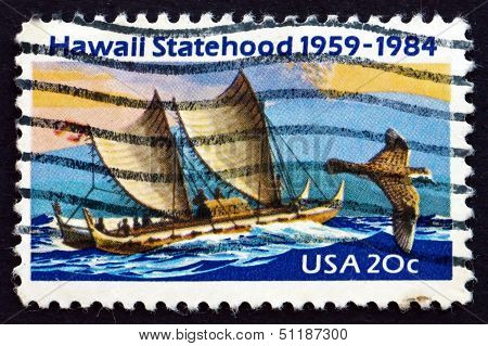 Postage Stamp Usa 1984 Eastern Polynesian Canoe