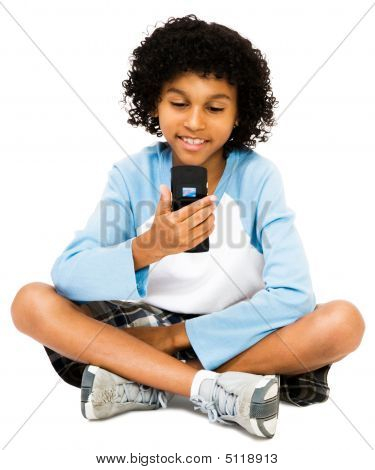 Boy Looking At Mobile Phone