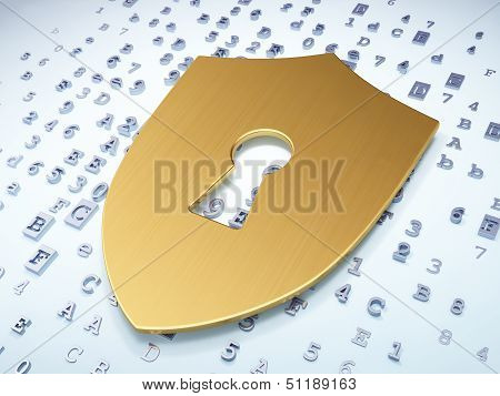Safety concept: Golden Shield With Keyhole on digital background