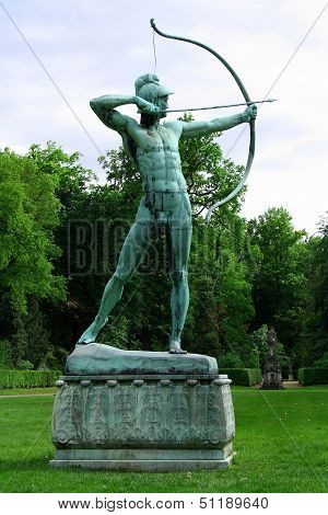 Sanssouci Garden Sculpture Of Archer In Potsdam