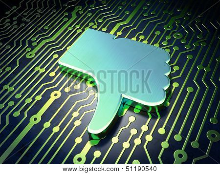 Social network concept: Unlike on circuit board background
