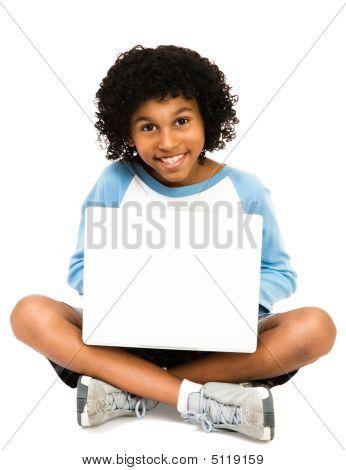 Portrait Of Boy Using Laptop