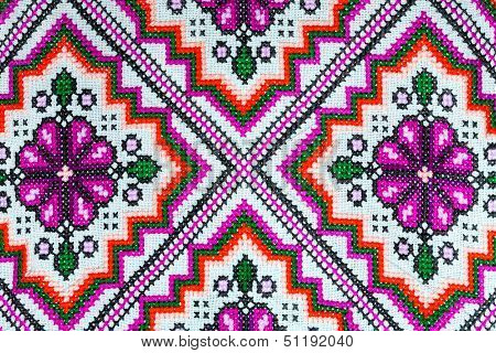 Cross Stitch Embroidery On Canvas.